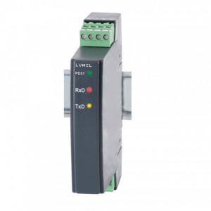Repetor/convertor industrial LUMEL PD51, interfata RS485/RS232, izolat galvanic, montaj pe sina