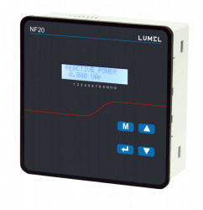 Controler factor de putere LUMEL NF20, compensarea puterii reactive, pentru retele trifazate, 8 iesiri in releu, RS485, montaj pe sina