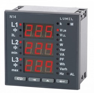 Analizor retea electrica Lumel N14, detectie secvente de faze incorecte, RS-485, iesire in releu si implus