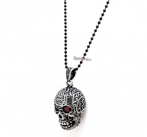 Poze Lant cu pandantiv inox - SKULL - Clubbing Collection - Vintage- Patinat Artificial - 685