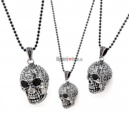 Lant cu pandantiv inox - SKULL - Clubbing Collection - Vintage- Patinat Artificial - 693