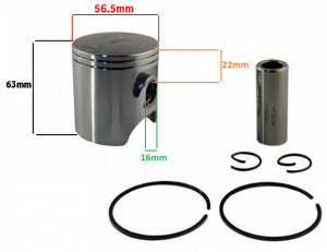 Piston scuter 2T 125cc Yamaha DT 56.5mm (fara ferestre, h 63mm)