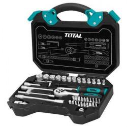 Trusa chei tubulare si antrenor 45 piese Total Tools