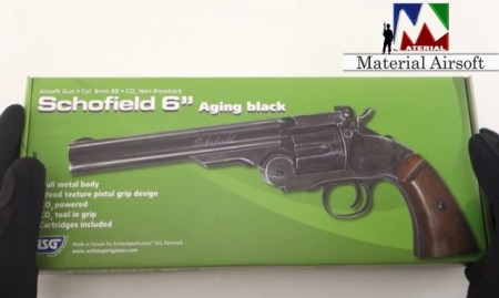 """Airsoft Revolver Schofield 6""""- Aging BK & Wooden Grip, CO2, 19303 ASG metal"""