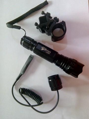 Lanterna Metalic cu Led UltraFire WF501B Green - cu microintrerupator si suport de prindere