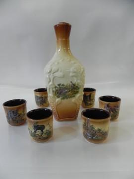Set ceramic din 6 pahare ptr. tuica si carafa ceramic de 0.5 L