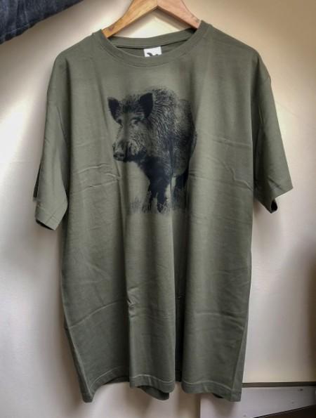 Tricou verde cu imprimeu negru Mitret, Caprior,Cerb