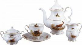 Set cafea Hubertus de 6 persoane din portelan cu motive vanatoresti - Leander - Cehia - 15 Piese