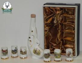 Set de 6 pahare din portelan din 0,5 l pentru tuica cu sticluta din portelan