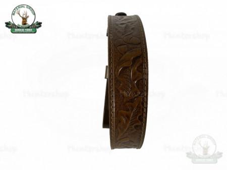 Curea arma piele maro big ornament cu motive vanatoresti captusit cu neopren 40mm Cehia