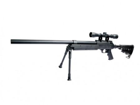 Replica Airsoft Urban Sniper, CODE 16769, cu luneta 4x32, bipod, 2 incarcaroare de 25 bile, 1.8 Joule