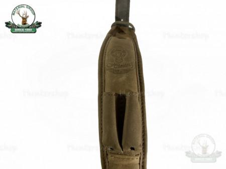 Curea arma piele maro capt velur, latime 50 cm cu 2 suport de cartuse luxury