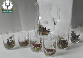 Set de pahare din 6 bucati si carafa pt vin cu motive vanatorest