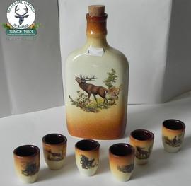 Set ceramic din 6 pahare si sticluta ceramic cu motive vanatoresti
