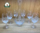 Set de pahare din 6 buc. ptr. VIN din sticla gravat 250ml cu carafa gravat de 1200 ml cod.13/1 in cutie ornament
