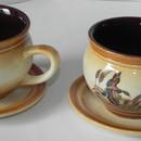 Set cafea Moca de 2 persoane ceramic cu motive vanatoresti