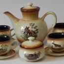 Set cafea / Ceai de 6 persoane ceramic motive vanatoresti slovacia