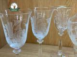 Set de pahare din 6 buc. din sticla gravat de 150ml ptr. Vin si carafa gravata de 750ml - cod.8