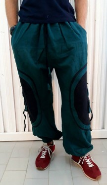 Poze Pantaloni turcoaz cu model spirala aplicat pe buzunarele laterale