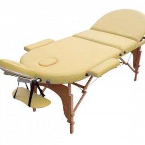 Pat de masaj 3 sectiuni oval lemn