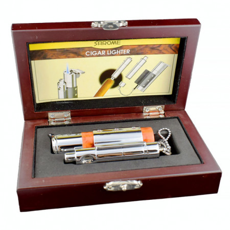 Poze Bricheta Sarome pentru trabucuri, cu gaz, anti vant, cu punch din inox atasat, culoare marble roscat, cutie cadou din lemn eleganta