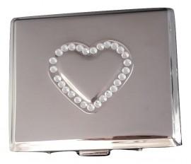 Tabachera argintata pentru tigari slim model cu inima