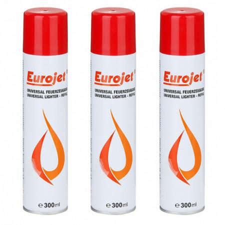 Gaz Eurojet universal pentru incarcat brichete, 3 flacoane a 300 ml.
