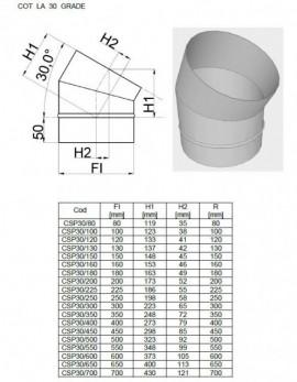Cot inox 30 grade SP(neizolat). Alege diametru Ø mm!