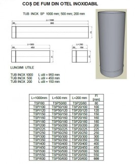 Burlan, tub inox SP(neizolat) L= 100 cm. Alege diametru Ø mm!