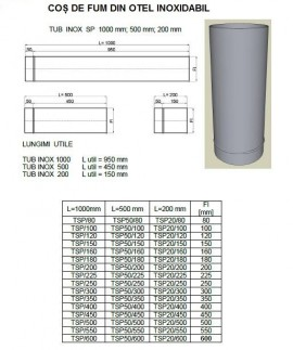 Poze Tub inox SP(neizolat) L= 50 cm. ALEGE DIAMETRU Ø mm!
