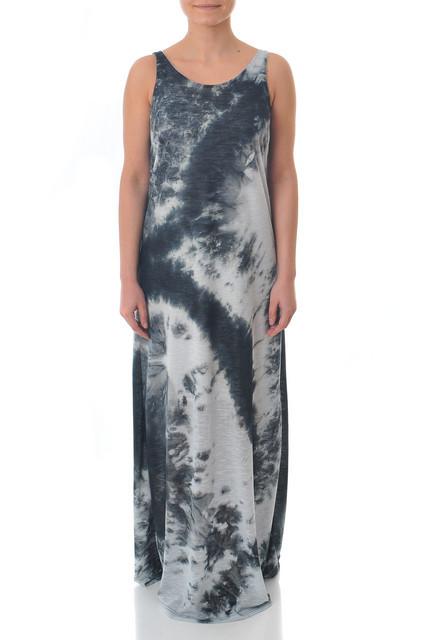 Rochie lunga neagra cu alb