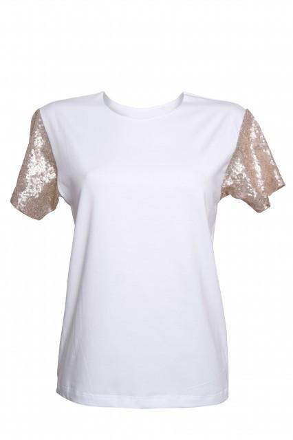 Tricou alb cu maneci din paiete aurii