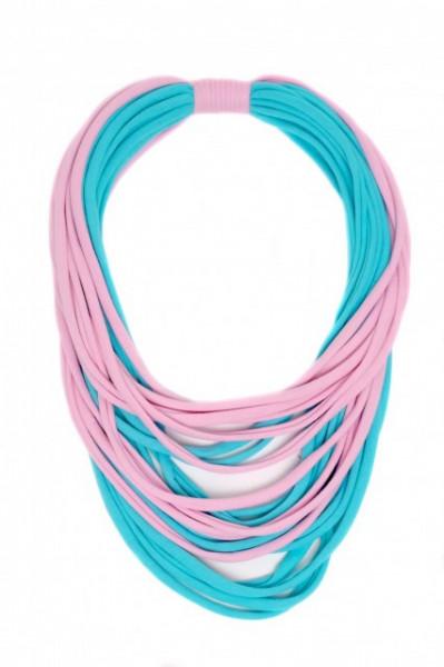 Poze Colier textil bleu cu roz