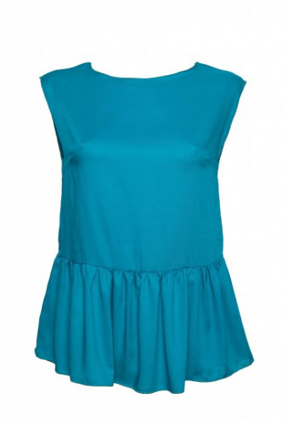 Poze Bluza turquoise cu volan in talie