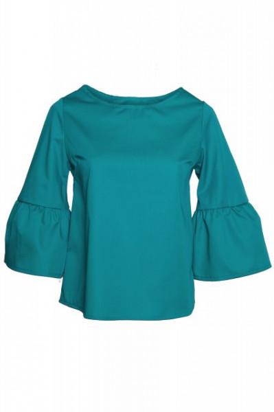 Poze Bluza verde cu volan la maneci