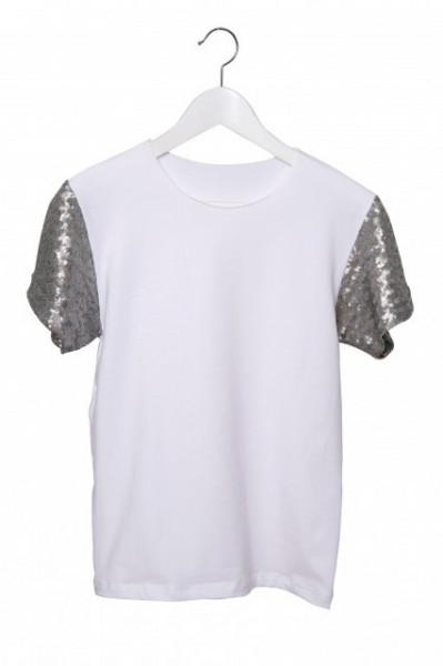 Poze Tricou alb cu maneci din paiete argintii