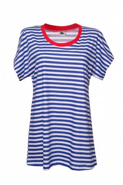 Poze Tricou cu dungi albastre si guler rosu