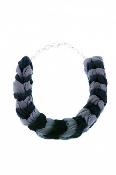 Poze Colier statement bicolor gri cu negru