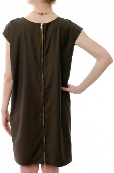 Rochie khaki cu fermoar la spate