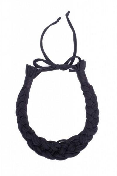Colier textil impletit negru