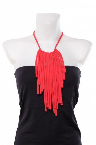 Poze Colier textil Fringes rosu