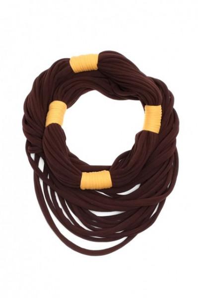 Poze Colier textil lung maro