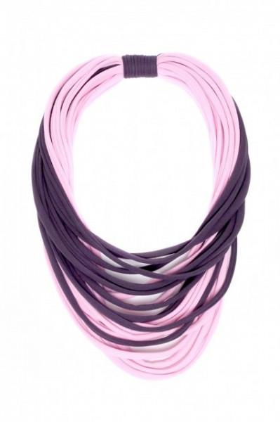 Poze Colier textil roz cu gri antracit