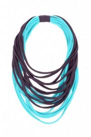 Colier textil bleu cu gri antracit