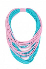 Colier textil bleu cu roz