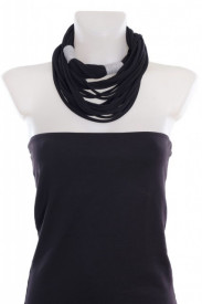 Colier textil lung negru