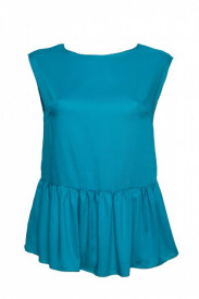 Bluza turquoise cu volan in talie
