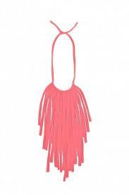 Colier textil Fringes roz