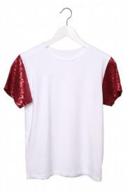 Tricou alb cu maneci din paiete aurii, argintii, rosii sau nude