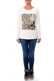 Bluza ivoire cu manca lunga si detaliu leopard print